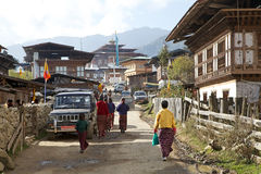 Gangten村庄,不丹 免版税库存图片