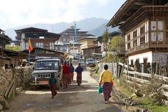 Gangten by, Bhutan Royaltyfri Bild