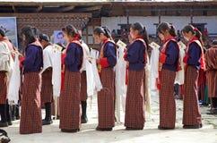 Gangtey修道院的不丹人, Gangteng,不丹 库存图片