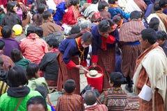 Gangtey修道院的不丹人, Gangteng,不丹 免版税库存图片
