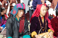 Gangtey修道院的, Gangteng,不丹不丹妇女 库存照片