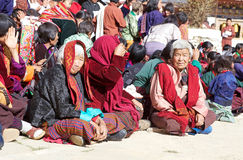 Gangtey修道院的, Gangteng,不丹不丹妇女 免版税库存照片
