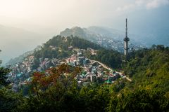 Gangtok city aerial view from high place in the Indian state of Royalty Free Stock Images