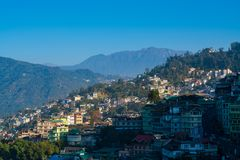 Gangtok city aerial view from high place in the Indian state of Royalty Free Stock Image