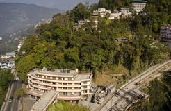 Gangtok city view from cable car. Beautiful Gangtok city view from cable car Stock Photos