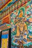 Mural paintings in the buddhist Rumtek monastery temple in Gangtok, India. Gangtok, India - May 2, 2017: Mural paintings in the buddhist Rumtek monastery temple Stock Image