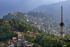 Gangtok-Stadt vom ganeshtok stockfoto