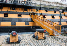 The gangway of HMS Victory the museum ship in Portsmouth dockyard. Famous as the flagship of Lord Nelson`s navy. And the Battle of Trafalgar. This ship was Stock Photo