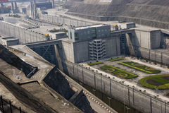 Gangway  of Three Gorges Dam, detail. Gangway of Three Gorges Dam in Yangtze river in China.This picture shows the entrance and exit gangway for boat to go Stock Image