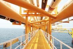 Gangway or walk way in oil and gas construction platform, oil and gas process platform, remote platform for production oil and gas. Construction in offshore stock photo