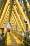 Gangway or walk way in oil and gas construction platform, oil and gas process platform. Remote platform for production oil and gas, Construction in offshore stock images