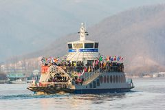 Ferry on water at Nami island. Royalty Free Stock Photos