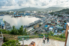 , Gangwon-tun Südkorea - 20. Juni 2017: Korea-` s Meer der Ostseelandschaft, Mukho-Hafenreise Stockfotografie