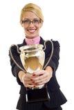 Ganhando um copo do ouro Imagens de Stock Royalty Free