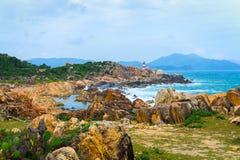 GanhDen lighthouse coastline Stock Images