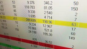Ganho e lucros do conceito do mercado de valores do investimento e da ação Dados financeiros no monitor vídeos de arquivo