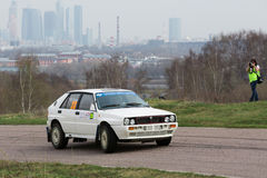 Ganin in racing car on Rally Masters Show Stock Images