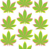 Ganja大麻anaglef无缝的样式 免版税库存图片