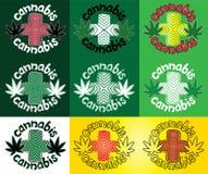 Ganja-Hanf-Marihuanablatt mit Designkreuzsymbol-Stempelillustration Stockbilder