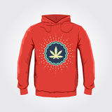 Ganjah emblem vector hoodie print design with Marijuana leaf - sweatshirt template Stock Photography