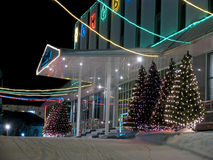 Gankowy budynku biurowego zakończenie. Nowy Rok. Zdjęcie Royalty Free