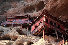 Ganlu temple , a Temple built on dangous cliff, in Fujian, China. Ganlu temple , a  buddhism temple built on cliff, located in Taining county, sanming city Stock Images