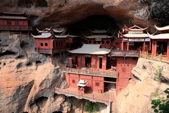 Ganlu temple , a Temple built on dangous cliff, in Fujian, China. Ganlu temple , a  buddhism temple built on cliff, located in Taining county, sanming city Stock Photo