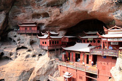 Ganlu temple , a Temple built on dangous cliff, in Fujian, China Royalty Free Stock Images