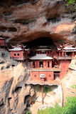 Ganlutempel, een Tempel op dangous klip, in Fujian, China wordt voortgebouwd dat Royalty-vrije Stock Foto