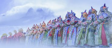 A procession of worshippers royalty free stock images