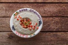Ganoush del bizcocho borracho de la inmersión de la berenjena con el pan y las verduras, espacio de la copia fotografía de archivo libre de regalías