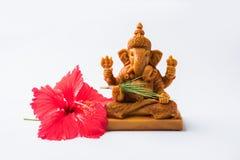 Ganpati greeting or Lord ganesha Greeting or happy ganesh chaturthi greeting card. Happy Ganesh Chaturthi Greeting Card showing photograph of lord ganesha idol stock photography