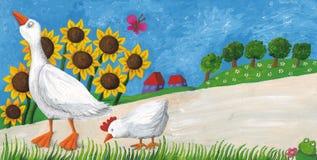 Gans mit Henne auf Dorfweise Stockbilder