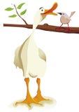 Gans und Vogel in der Liebe Stockbild