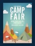 Ganska mall-, baner- eller reklambladdesign för läger vektor illustrationer