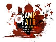Ganska mall-, baner- eller reklambladdesign för läger royaltyfri illustrationer