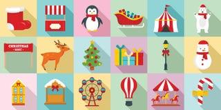 Ganska symbolsuppsättning för jul, plan stil royaltyfri illustrationer