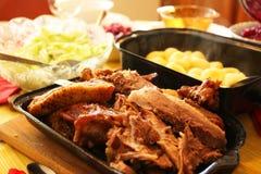 Ganso de la carne asada para la cena Fotografía de archivo libre de regalías