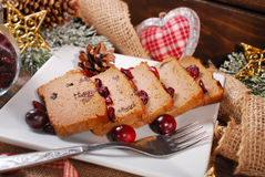 Ganspastei met Amerikaanse veenbessen voor Kerstmis Stock Foto