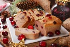 Ganspastei met Amerikaanse veenbessen voor Kerstmis Royalty-vrije Stock Foto