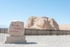 GANSU, ΚΊΝΑ - 13 Απριλίου 2015: Η πρώτη αποβάθρα του SCE Σινικών Τειχών Στοκ Φωτογραφία