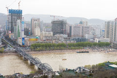 GANSU, CHINA - Apr 05 2015: Lanzhou City View From Baita Mountain Park. A Famous Landscape Site In Lanzhou, Gansu, China. Royalty Free Stock Photography
