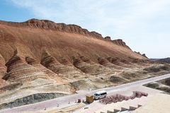 GANSU, CHINA - Apr 10 2015: Colourful Hills Scenic Area of Zhang Stock Photo