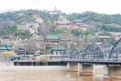 GANSU, CHINA - Apr 07 2015: Yellow River Bridge (Zhongshan Bridg. E). The Bridge was the first permanent bridge over the Yellow River in Lanzhou, Gansu, China Royalty Free Stock Photography