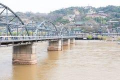 GANSU, CHINA - Apr 07 2015: Yellow River Bridge (Zhongshan Bridg. E). The Bridge was the first permanent bridge over the Yellow River in Lanzhou, Gansu, China Royalty Free Stock Photos