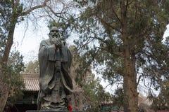 GANSU, CHINA - 08 April 2015: Het Standbeeld van Confucius bij Wuwei-Confucian Stock Foto