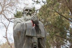 GANSU, CHINA - 08 April 2015: Het Standbeeld van Confucius bij Wuwei-Confucian Stock Foto's