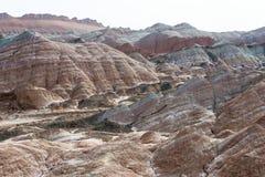 GANSU, CHINA - 10 April 2015: Kleurrijk Heuvels Toneelgebied van Zhang Royalty-vrije Stock Foto