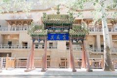 GANSU, CHINE - 30 avril 2015 : Cavernes de Mogao un site historique célèbre Photos libres de droits