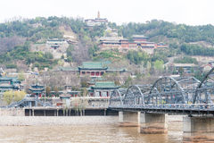 GANSU CHINY, Apr, - 07 2015: Żółty rzeka most (Zhongshan Bridg Fotografia Royalty Free